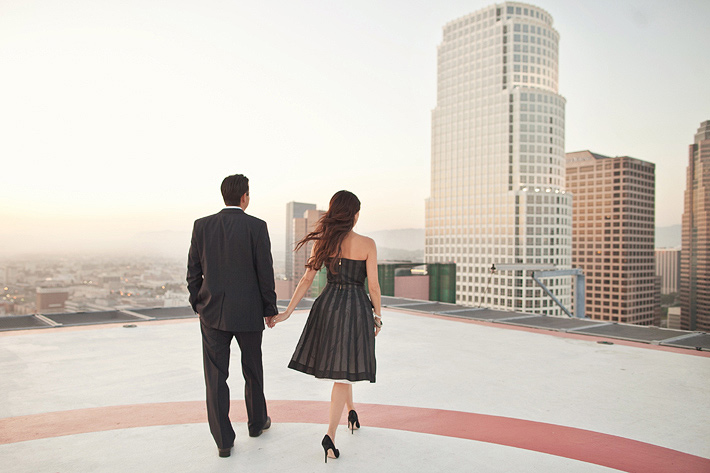 downtown los angeles bradbury building helicopter landing engagement photography